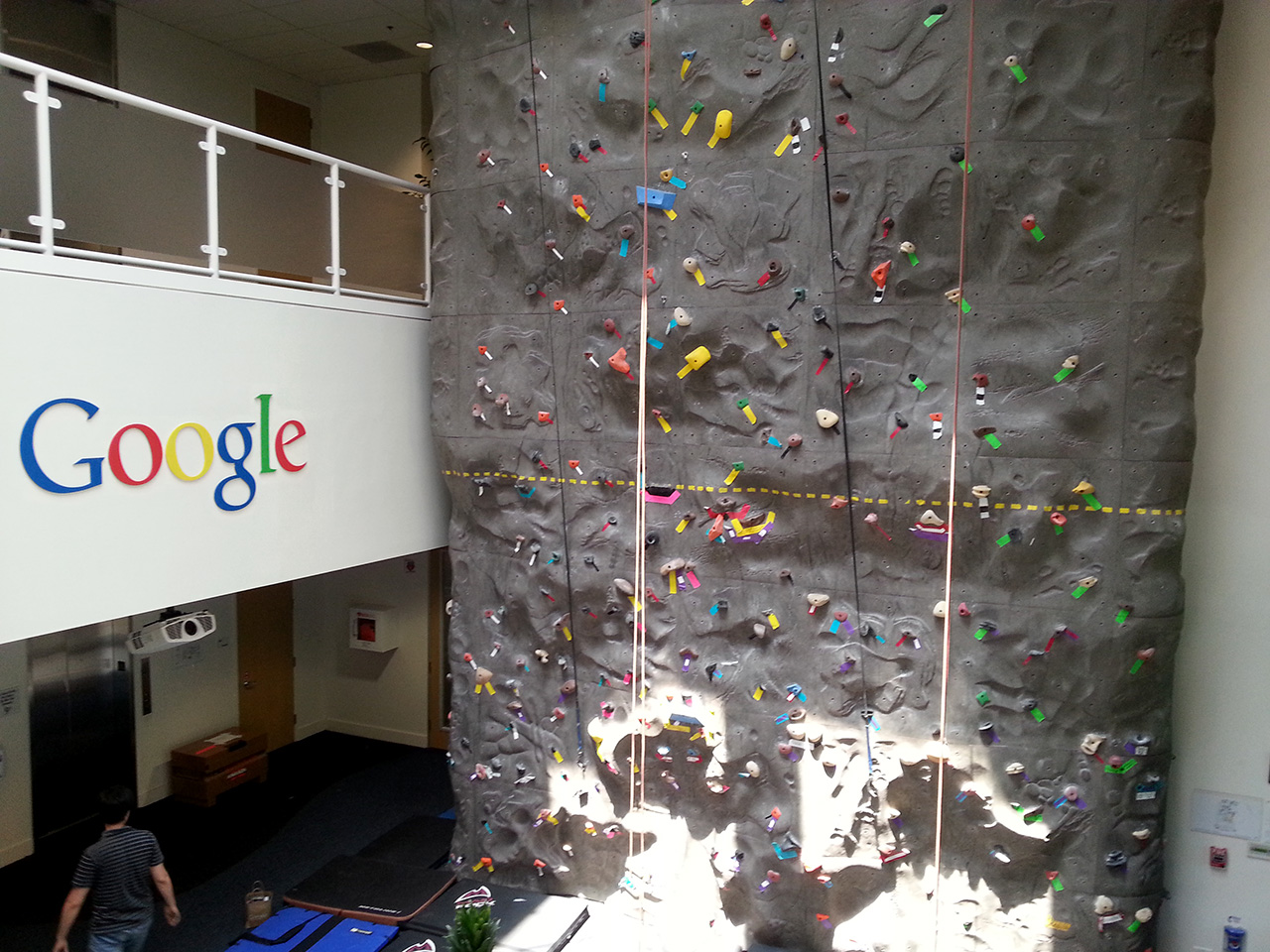 small climbing wall in one of google buildings  i was