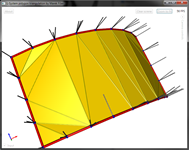 Curved plane triangulated correctly (normals visualized as lines).