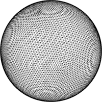 Wireframe model of sphere model used to simulate random faults.