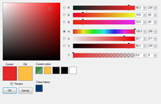 Custom color picker with history and convenient ways how to select color.