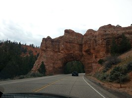 On the way in and out you get to drive through two arches above the road.