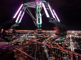 Crazy spinning thrill ride on top of hotel Stratosphere in Las Vegas.
