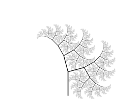 A frame from Pythagoras tree animation.