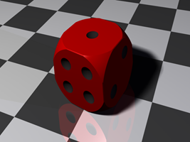 A dice created from cubes and spheres using boolean operations.