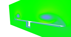Vector field magnitudes near the end of the wing. Wing itself is not shows which reveals box under the wing. Notice that wind is slower near the surface of the wing.