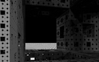 Procedurally generated Menger sponge (8th iteration).