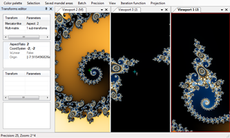 Interface showing Mandelbrot set (left) that generates Jualia set (middle) which is then projected using mercator-like prijection (right).