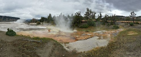 Upper Terraces of Mammoth Hot Springs in Yellowstone National Park.