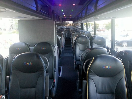 Google shuttle - comfortable and convenient service from Google with Wi-Fi on board, branded including the lights.