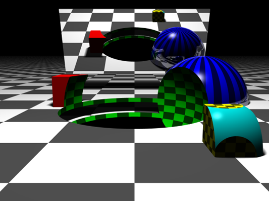 A procedurally created scene containing spheres, cubes, and planes. More complicated shapes are created using boolean operations. The mirror in the back is just a plane intersected with a box and it has 100% reflectivity. Notice the soft shadows and reflection on the blue sphere.