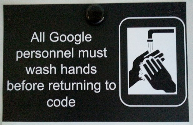 Coding only with clean hands.