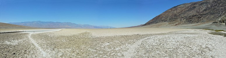 The lowest point of Death Valley — dried-out lake.